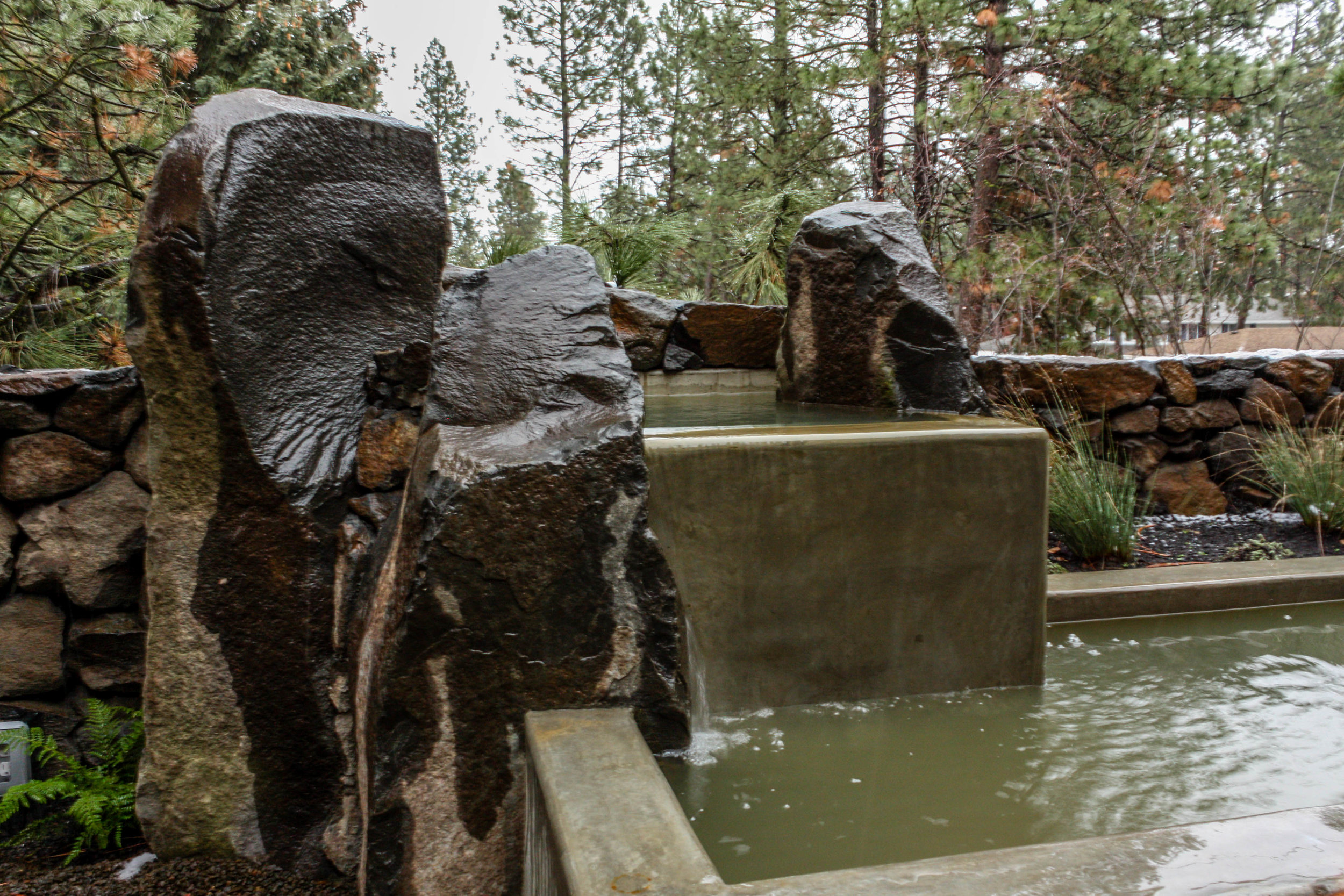 spokane south hill basalt column and poured concrete water feature