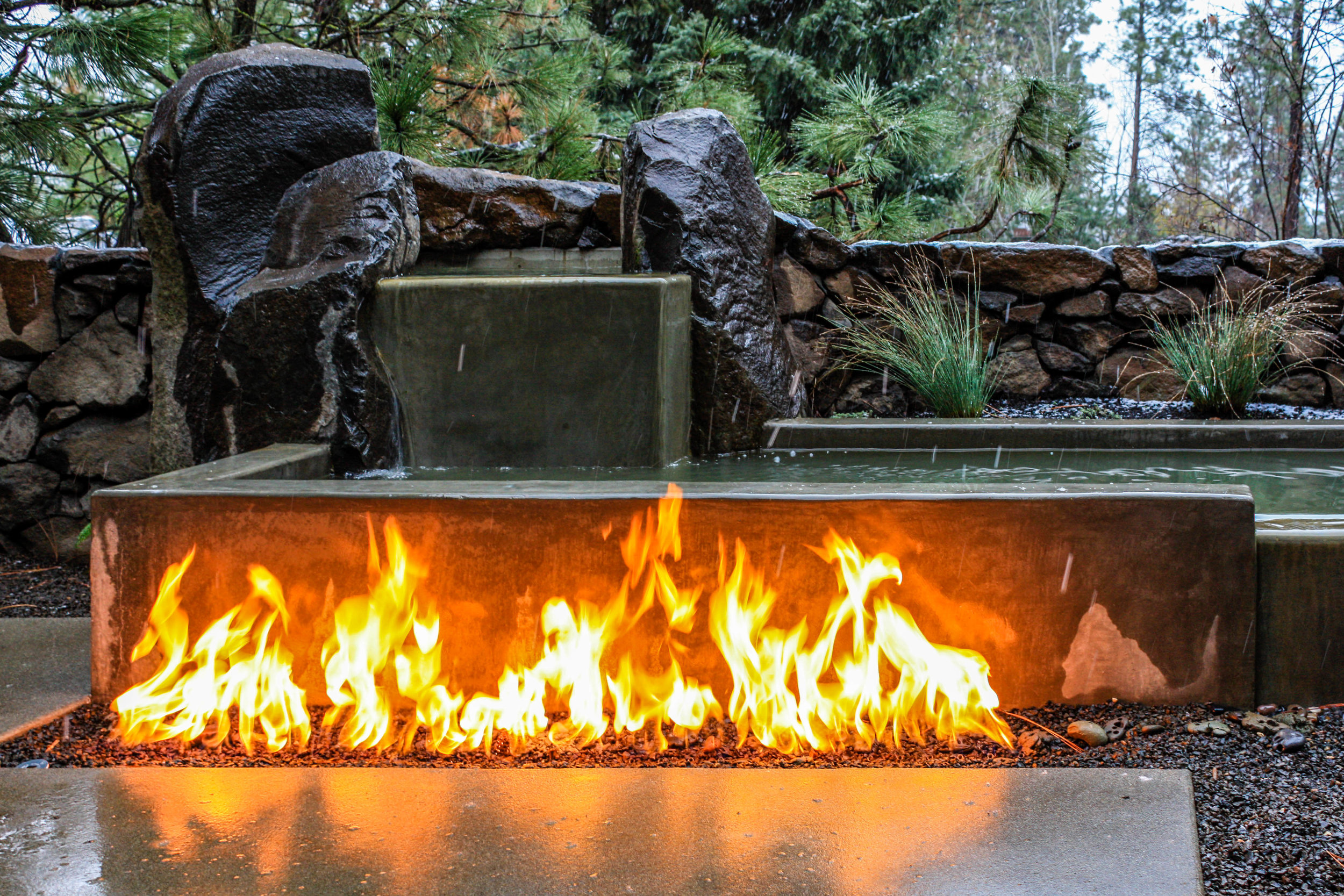 spokane landscape with water and fire feature combination