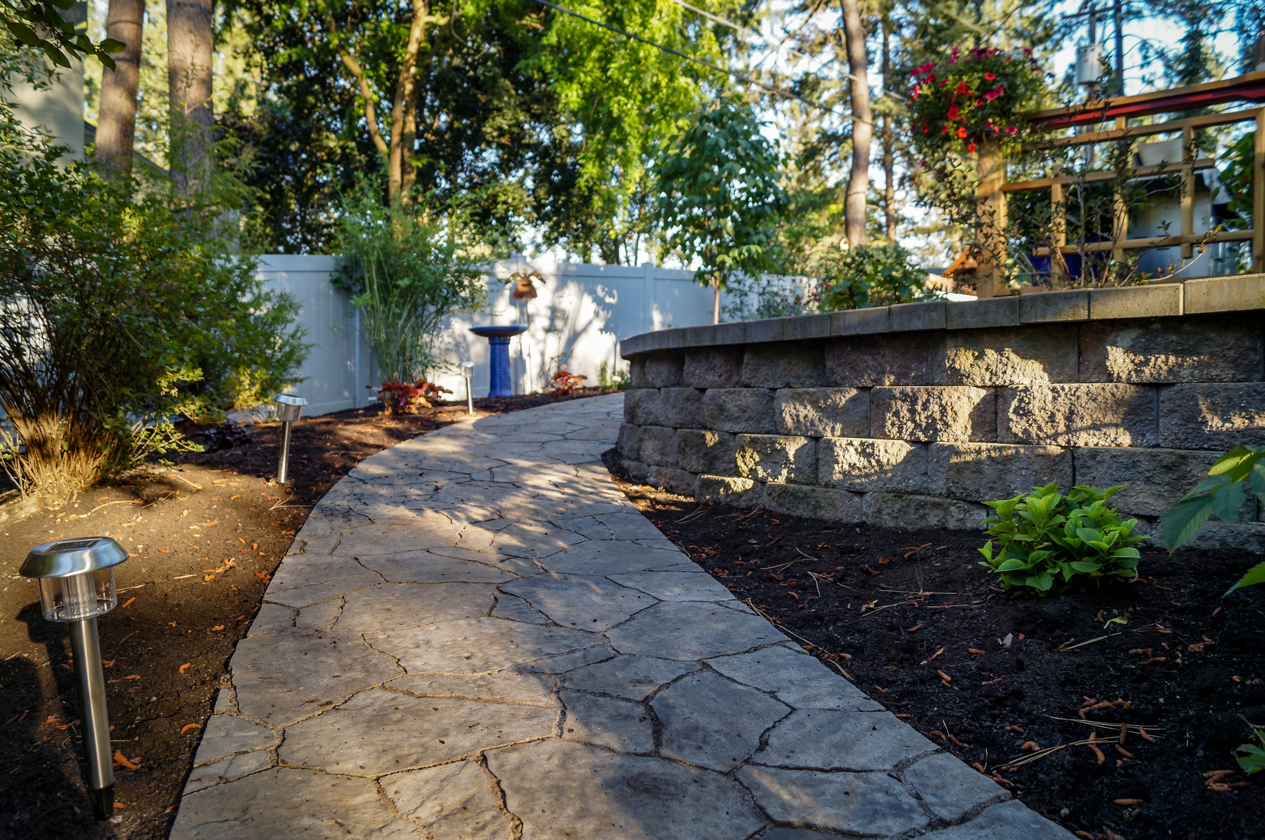 paver ramp on spokane south hill with landscaping