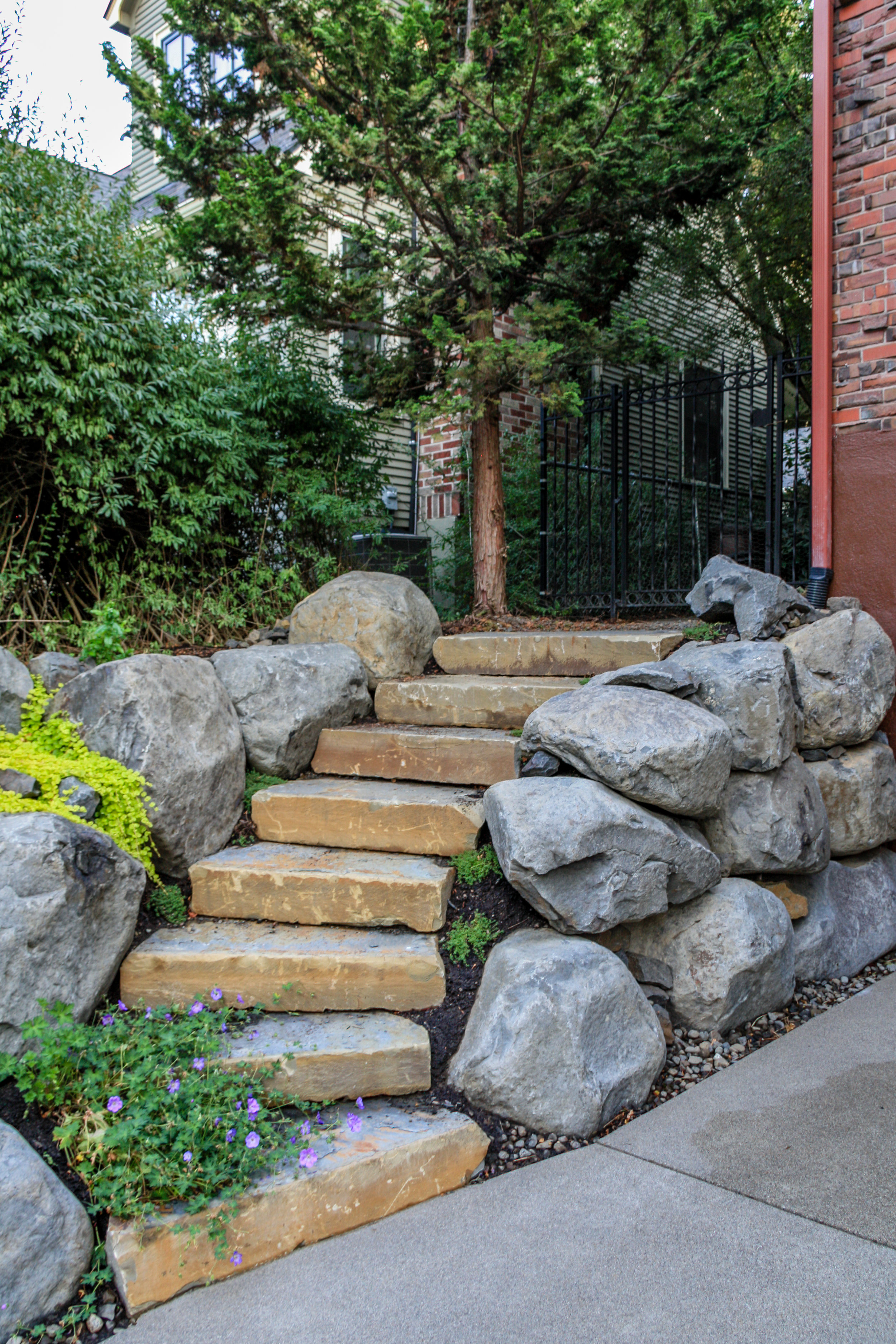 natural stone steps and boulder retaining walls in spokane