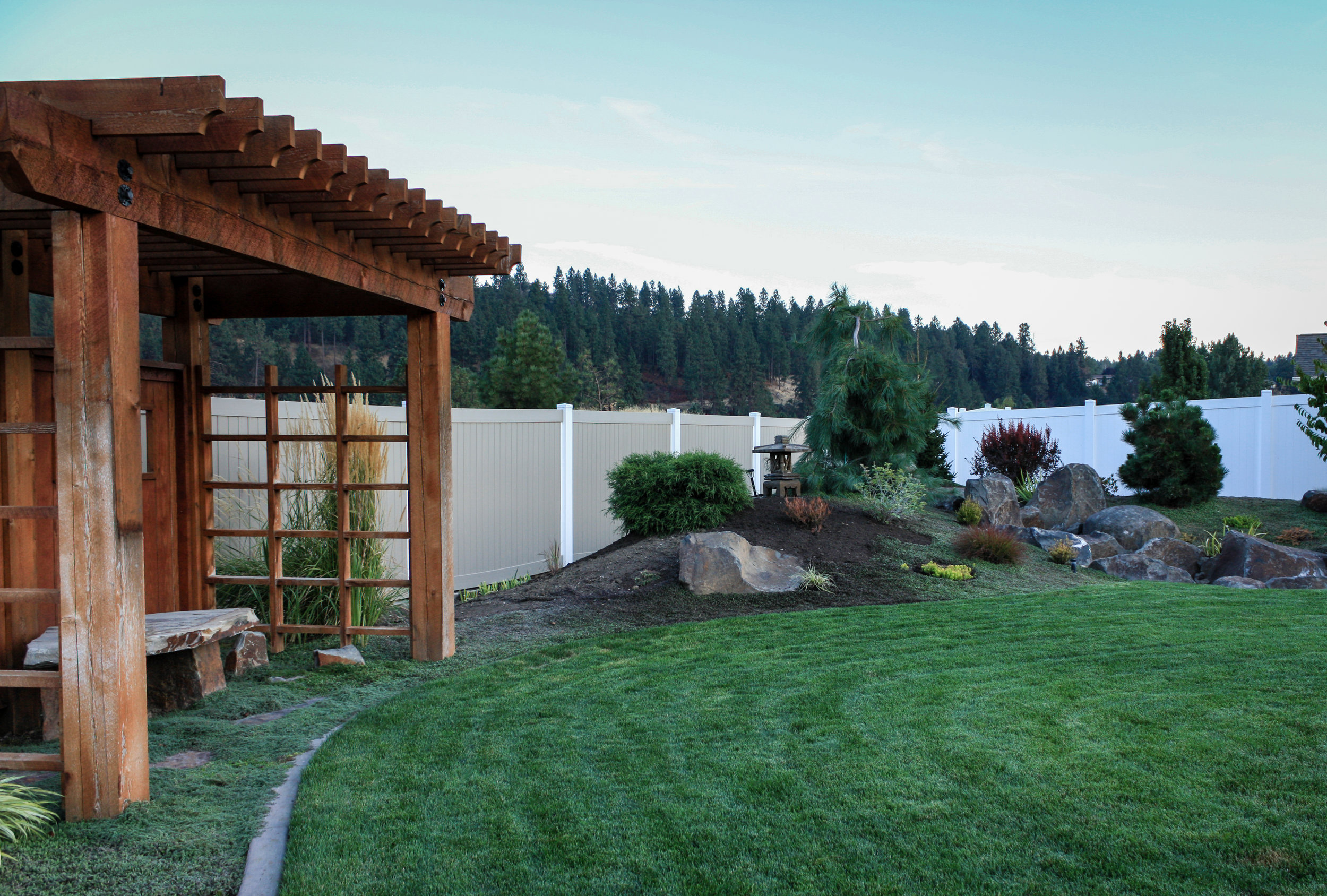 japanese landscaping with pergola in spokane valley