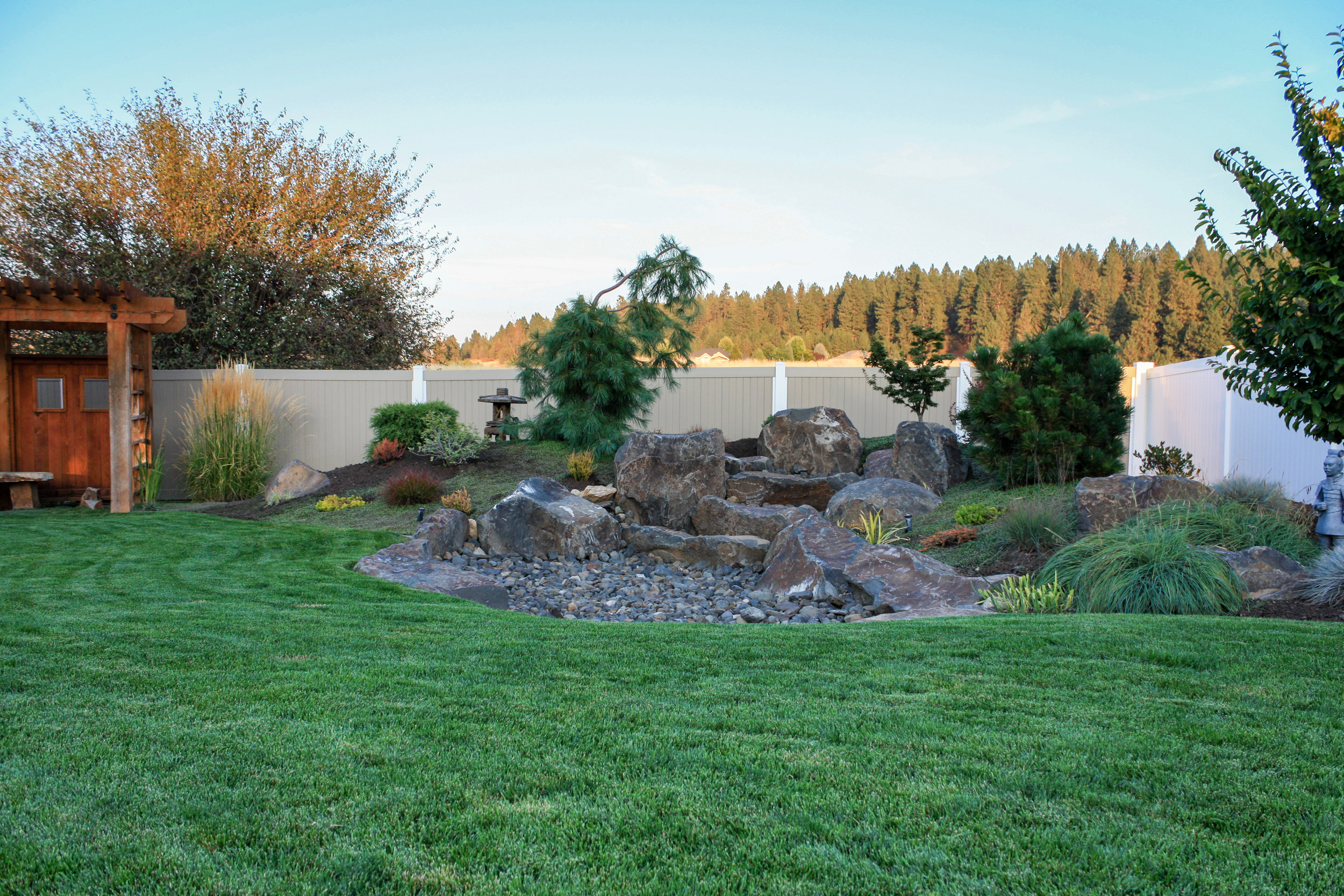 spokane valley landscape with japanese dry water feature