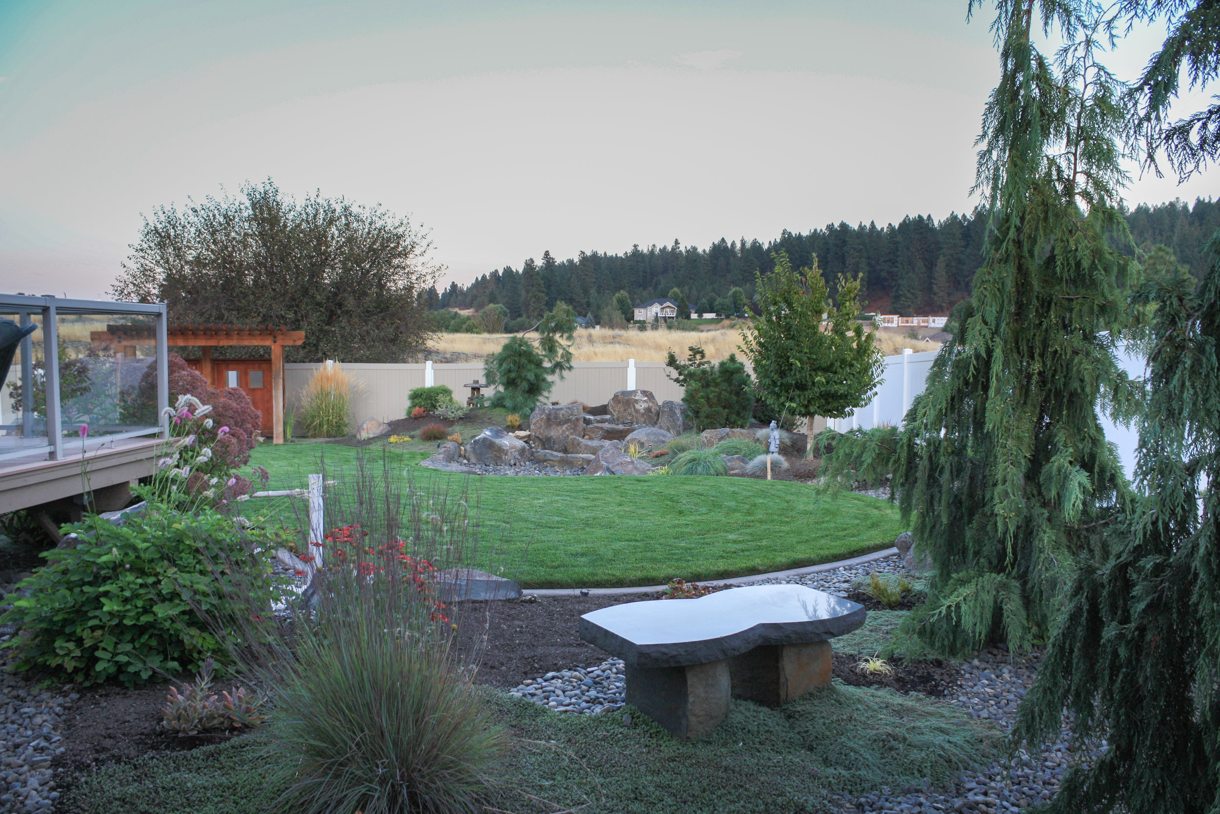 stone bench with japanese landscape in spokane valley