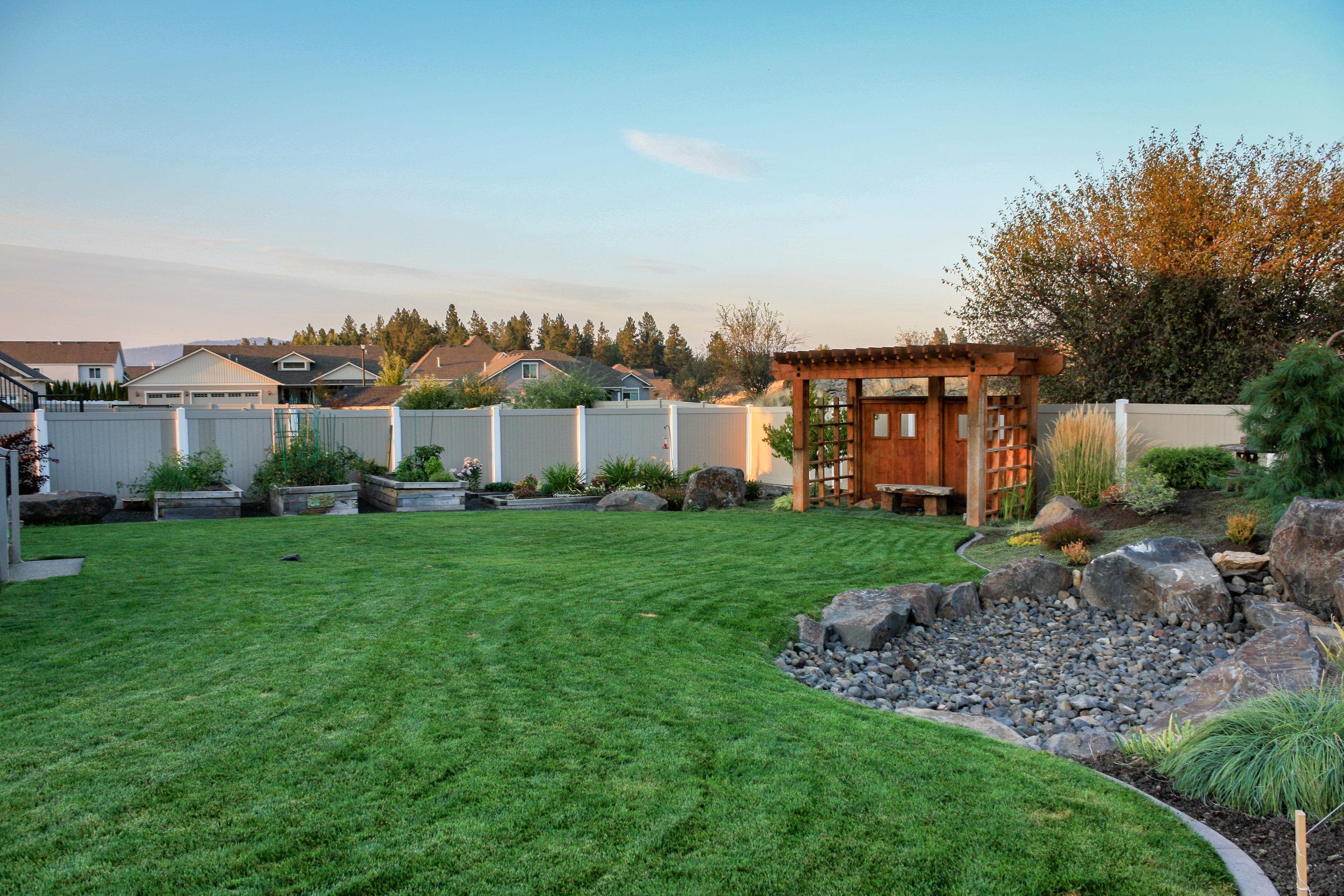spokane valley landscaping with garden beds