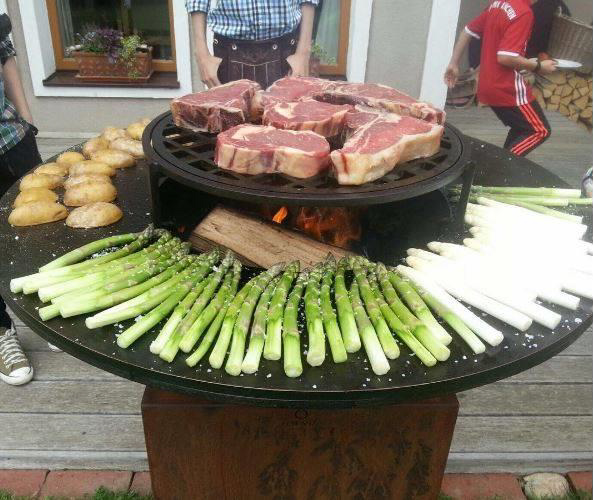 OFYR grill with veggies and steak