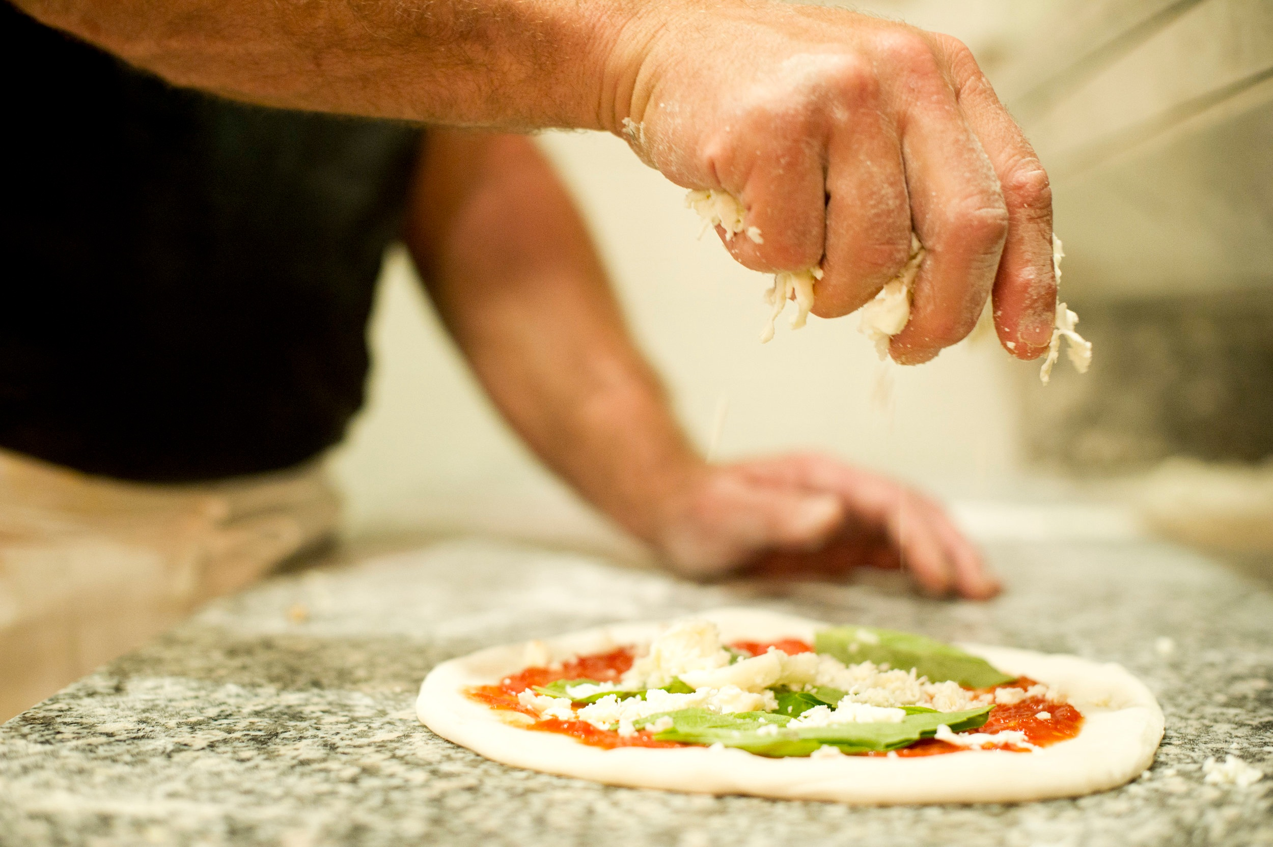 Our Pizzas are hand-stretched, we never use a rolling pin!