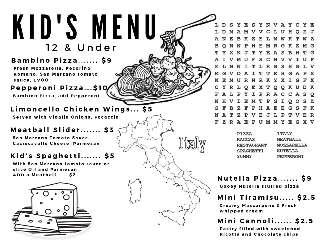 Racca's Pizzeria Napoletana Kid's Menu