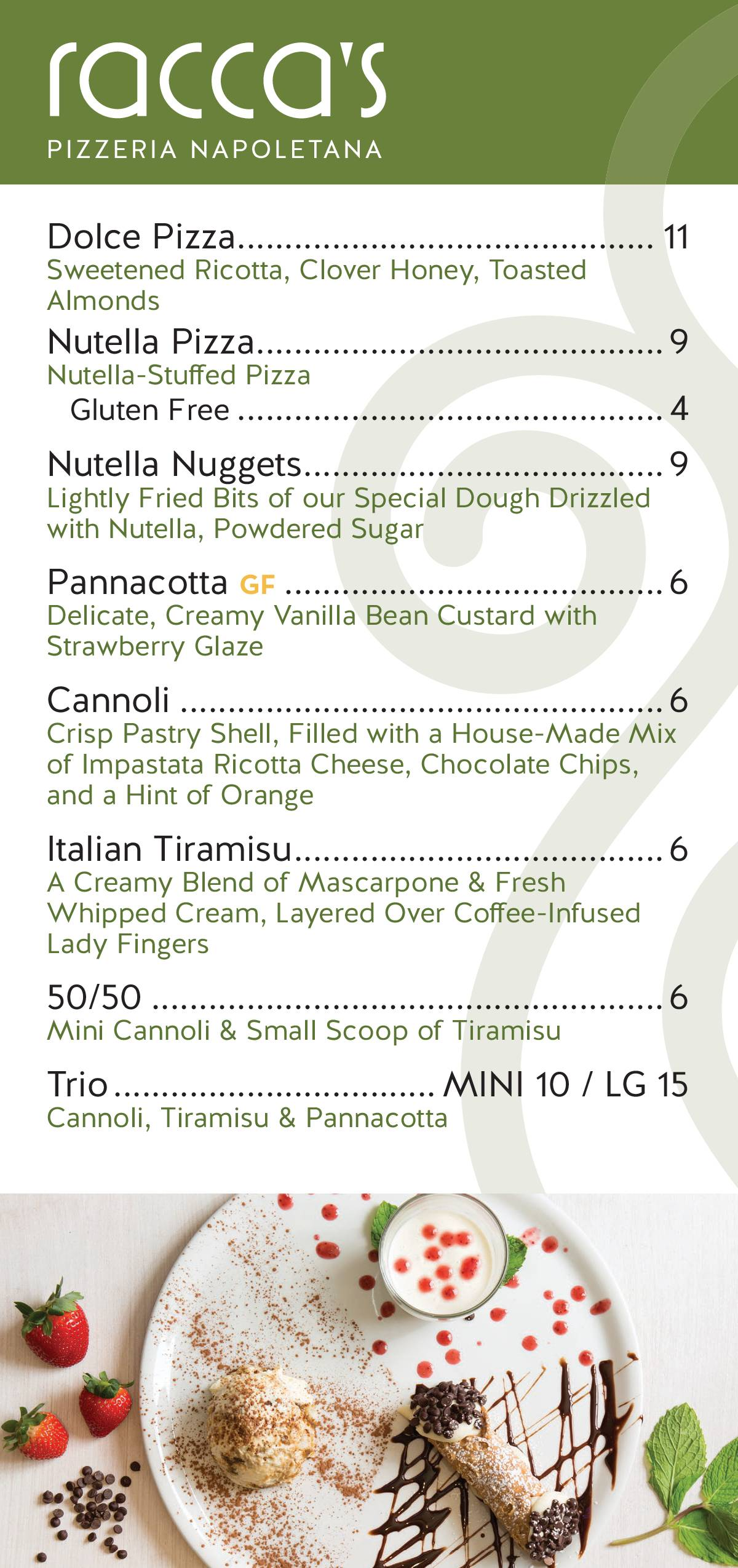 Dessert Menu 2019 - Racca's Pizzeria Napoletana