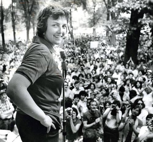Representative Elaine Noble, Gay Pride Rally, Boston Common, Boston, Massachusetts, June 13, 1977. Photo by Stan Grossfeld