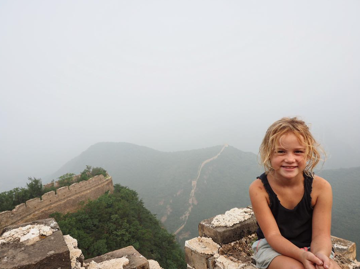 Emily Farrell at the Great Wall of China. (All images courtesy of Evie Farrell).