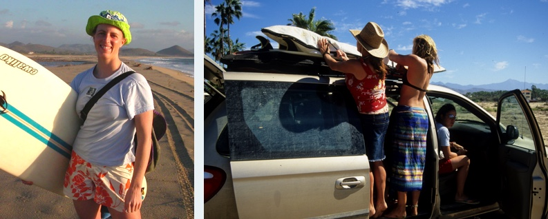 Amy Waeschle (left), and loading up the car for surf lessons