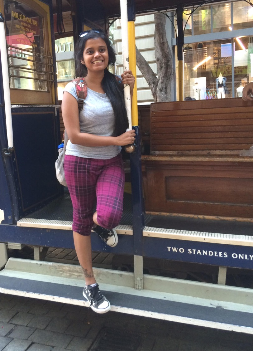 Riding the tram in San Fransisco