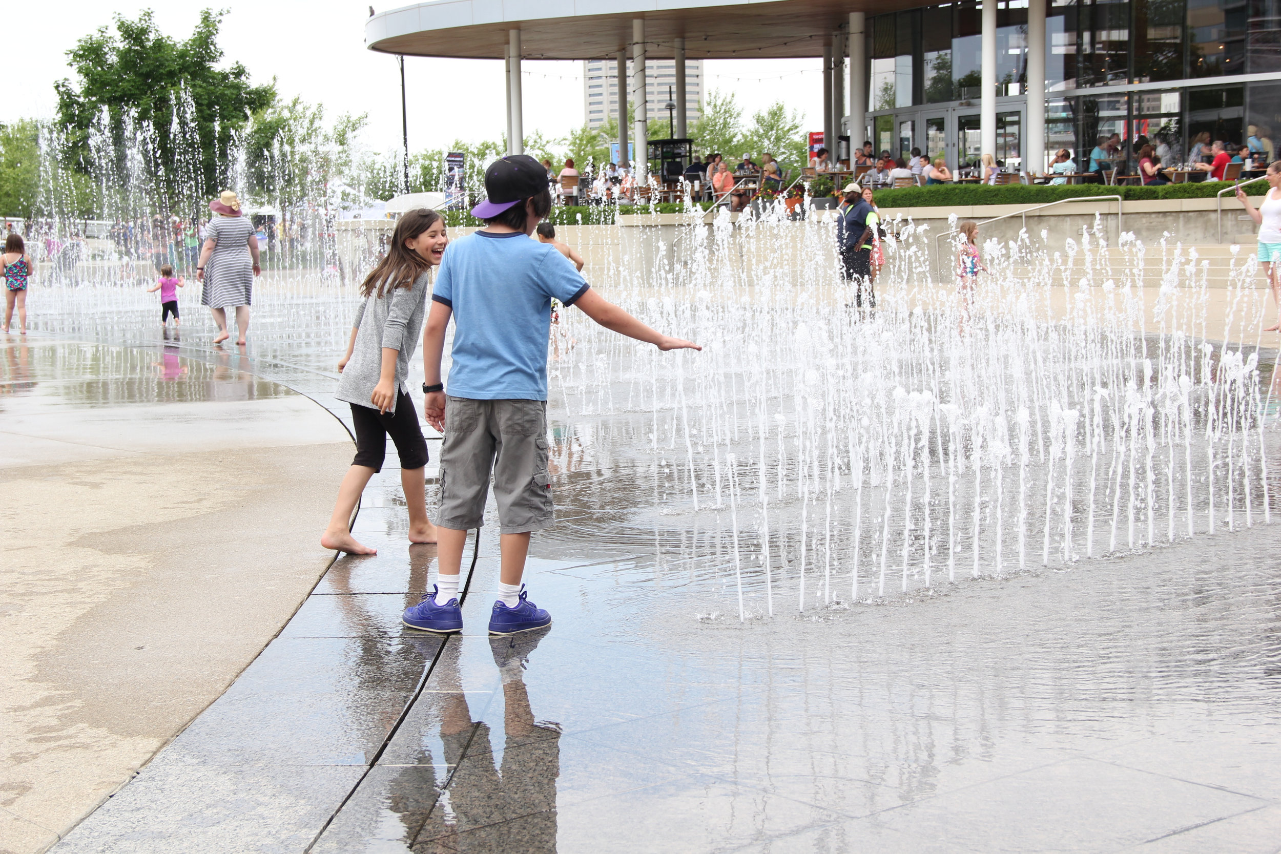 Some of our members decided to cool off by running through the fountains at the Columbus Arts Festival last Friday.