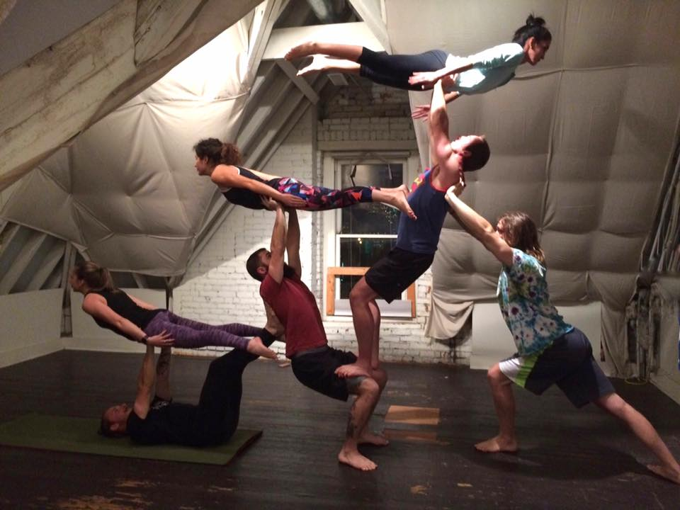 Columbus Acro Play   Columbus Acro Play is a free, open group for adults to experiment with acro yoga postures. Acro yoga is fun a mix of partner acrobatics, Thai massage, and yoga. Essentially, it builds a practice of the understanding of trust. Columbus Learning Cooperative hosts acro jam sessions during the winter and occasional workshops from guest instructors.