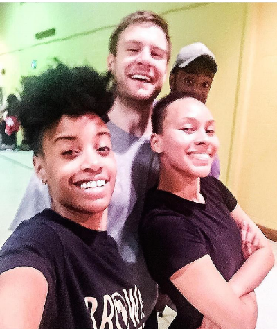 Michelle Nelson (Brown + Healthy), Jake Tunney (GiveFit Founder), and Joi Carter. (With Troy the Trainer in the back)