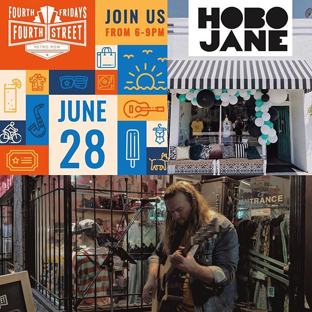 Hey friends! I'm going to be playing music from 6-9pm next Friday, June 28th, as part of 4th Fridays on @4thstreetlb! I'll be performing in front of @hobojaneboutique, which is celebrating their one year anniversary that evening as well! @rubyblujewelry, @whitneyalix, and @awloutleather will be set up there too, so come celebrate with us! Very excited! . . . . #hobojaneboutique #livemusic #4thfridaysLB #visitlb #Thisislongbeach # #lbshows #singersongwriter #562 #indie #alternative #freeshow #retrorow #honesthorse #longbeachca #longbeach #california #lbmusic #lbc #4thstreetlb