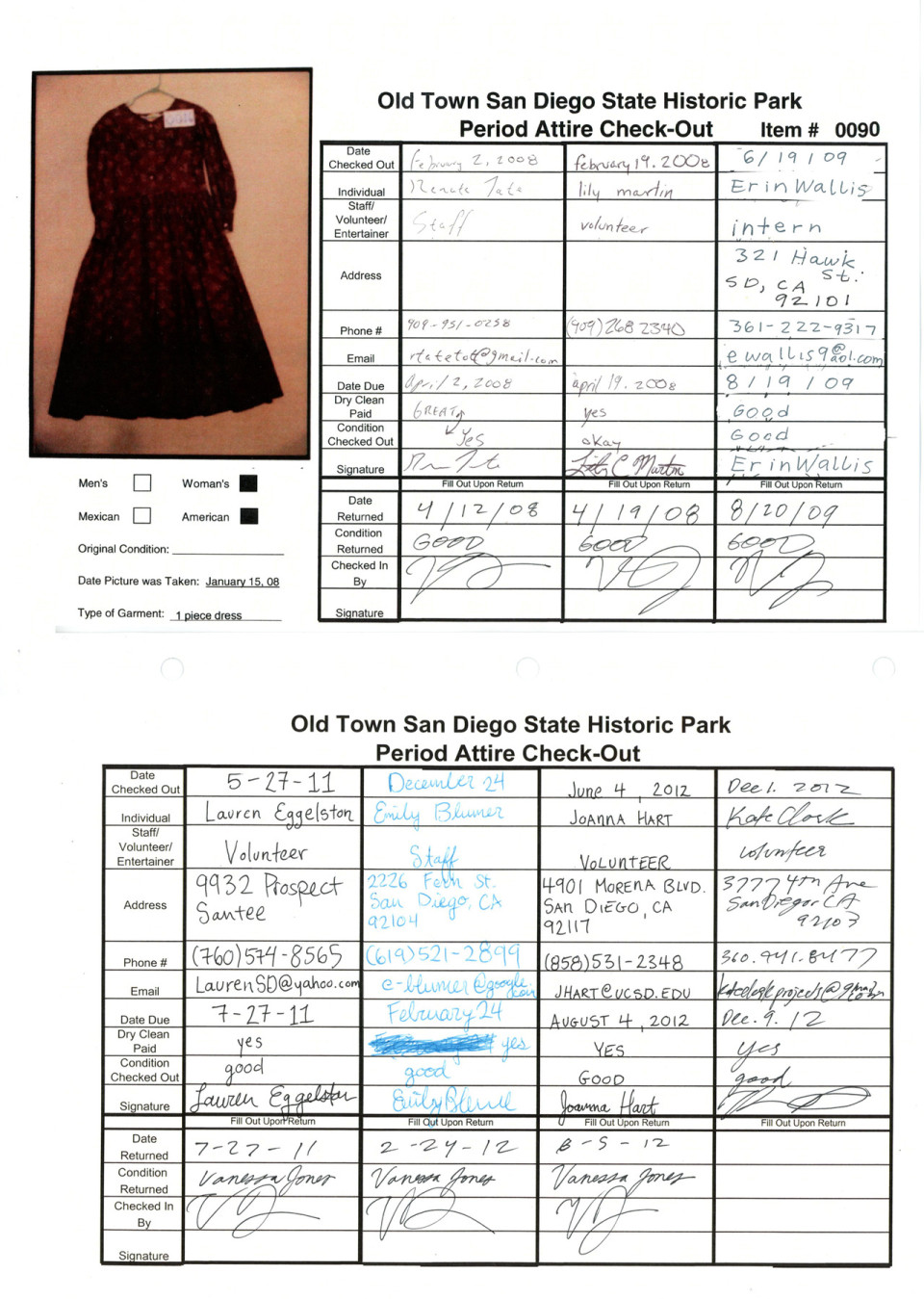Documentation of check out forms of Period Attire belonging to the State Of California.