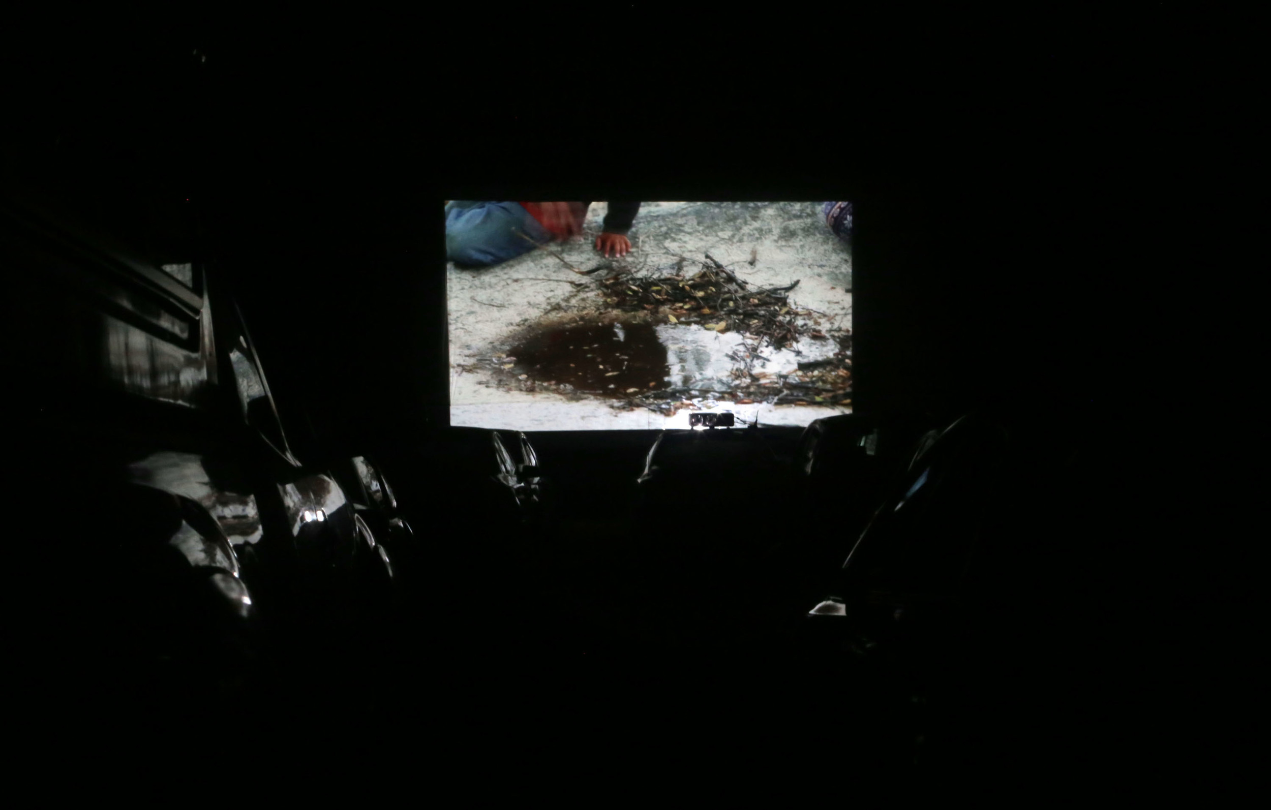 View of drive-in theater screening of Canyon in San Clemente Canyon