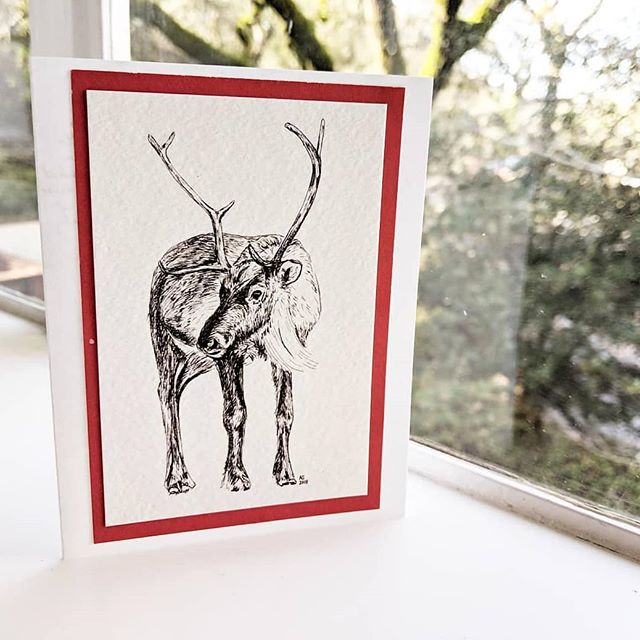 Drew a little reindeer card for my grandparents. 🦌 ° ° ° ° ° °  #lineart #linedrawing #drawing #reindeer #arcticanimals #greetingcards #holidaycard #greetingcard #paperlove #aquietstyle #pigmamicron #blackworknow #naturalhistoryillustration #scientificillustration  #illustration #illustree #illustration_daily #inkdrawing #creativelife #makersgonnamake #makersmovement