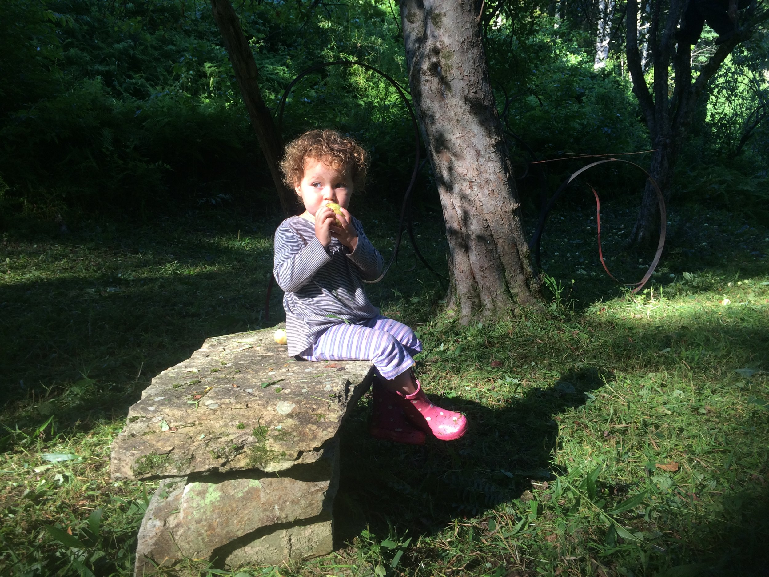 Our daughter Chloe at the base of an apple tree munching on a fresh apple