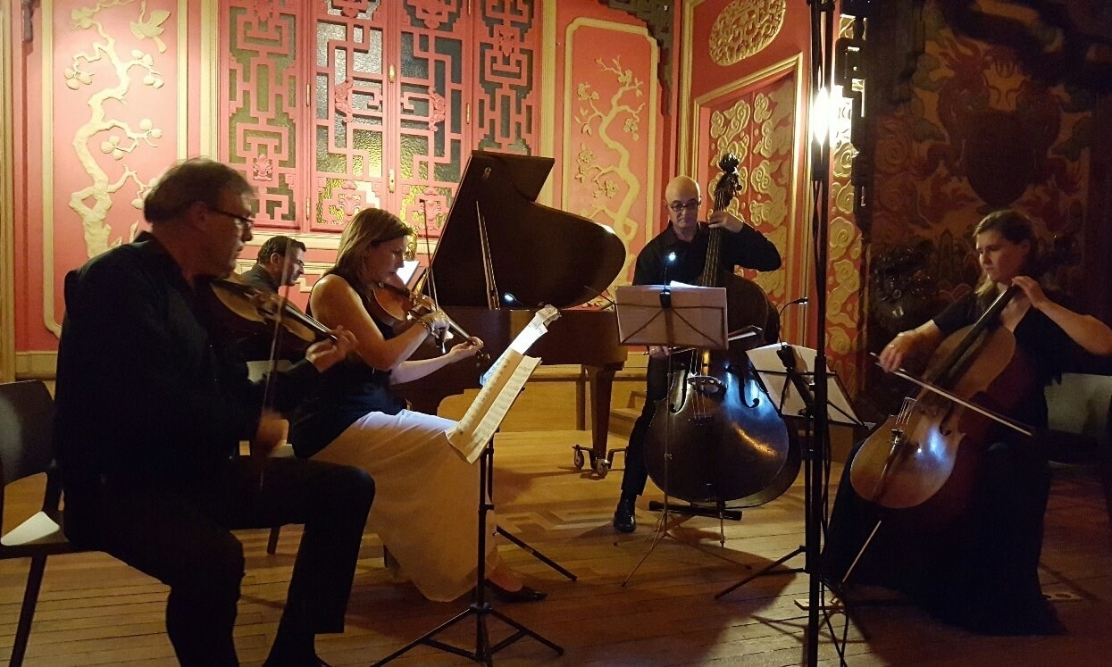 """Kate Hamilton with members of the Musicami Chamber Music Society on May 11, 2016 at the Maison de L'Asie du Sud, Paris, France. Works of Bottesini, Brahms, and the epic """"Trout"""" Quintet of Franz Schubert."""