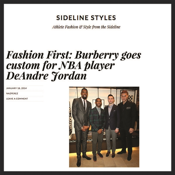 "Sideline Styles  - ""Fashion First: Burberry goes custom for NBA player DeAndre Jordan"""