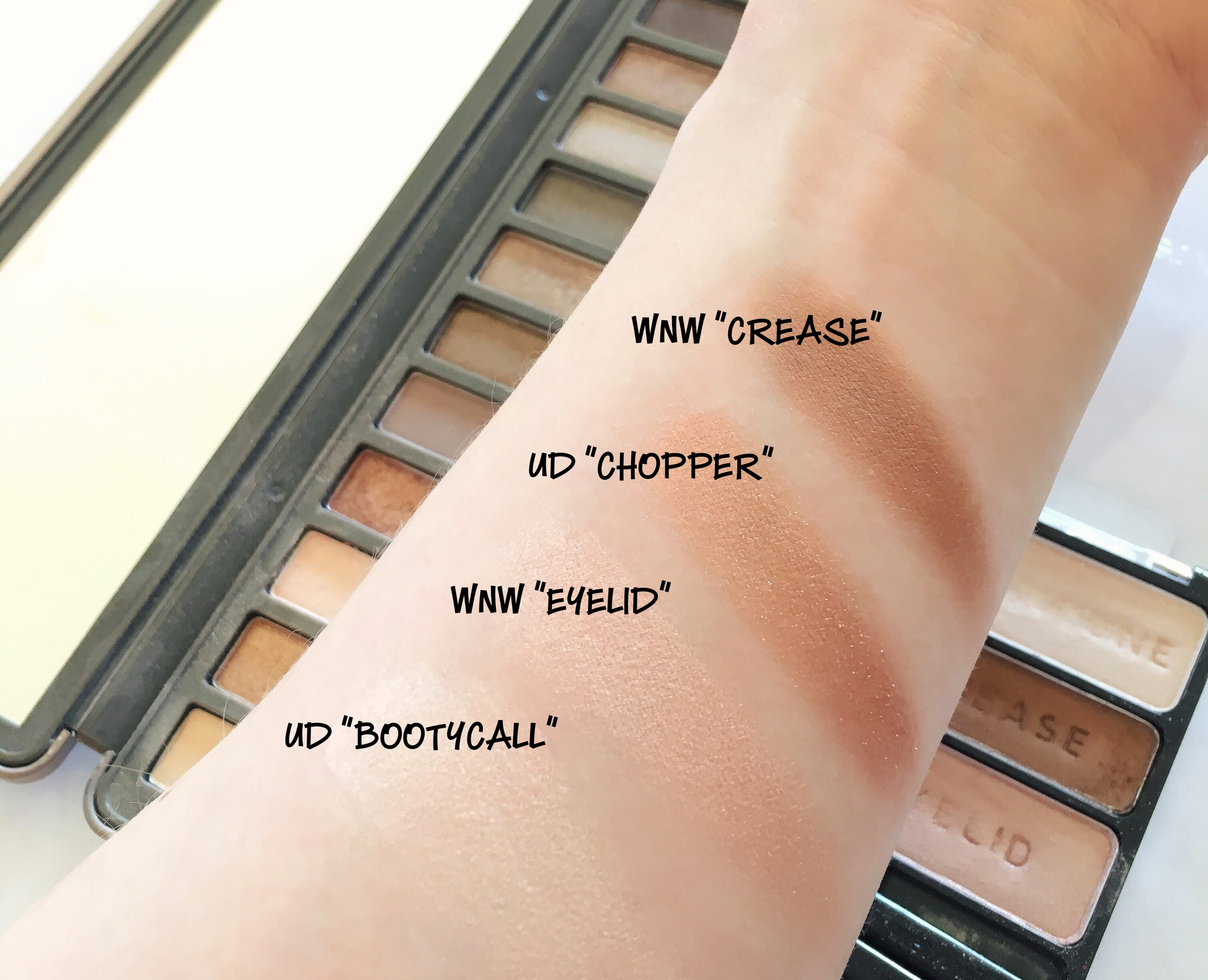 Urban Decay Naked 2 Palette and Wet 'n Wild walking on Eggshells trio
