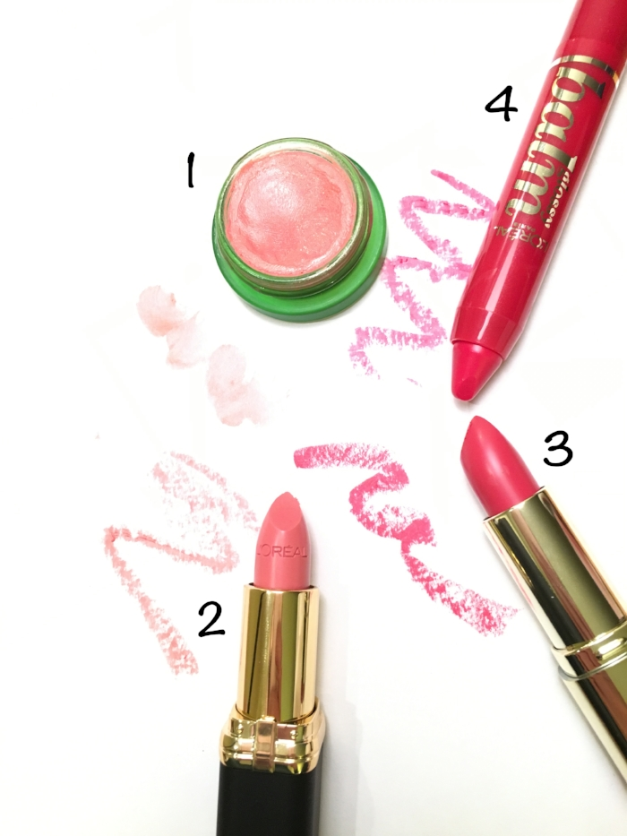 1. Tata Harper Volumizing Lip and Cheek Tint in Very Sweet // 2. L'Oreal Color Riche Collection Exclusive in Julianne's Nude // 3. Milani Color statement lipstick in blushing beauty // 4. l'oreal glossy balm in baby berry.