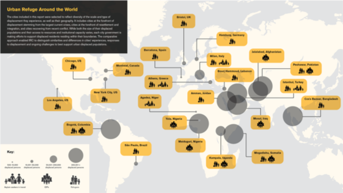 Figure 1: Urban Refuge Around the World. Cities interviewed for the report.