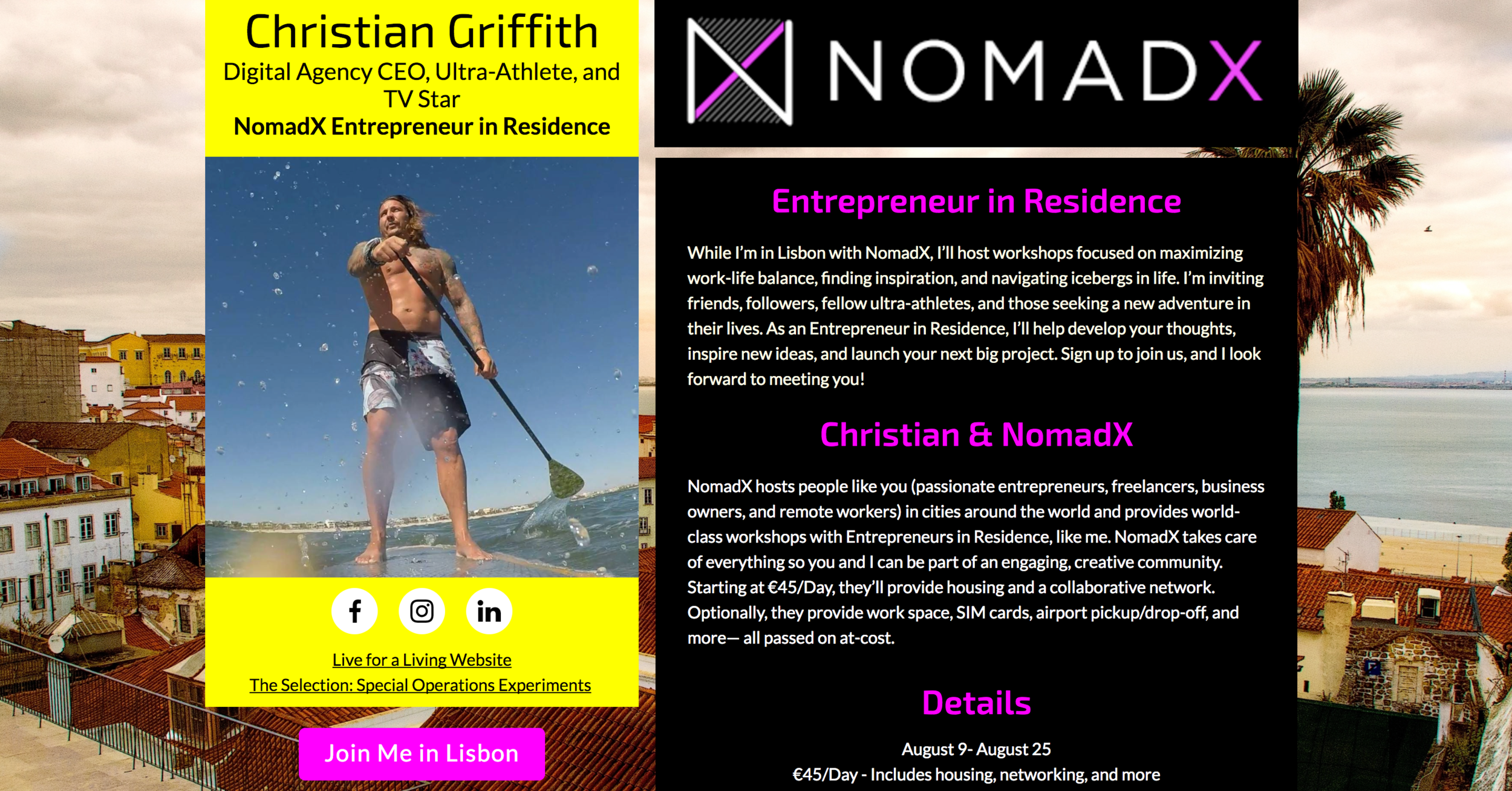 Screen shot of  https://christian.nomadx.com