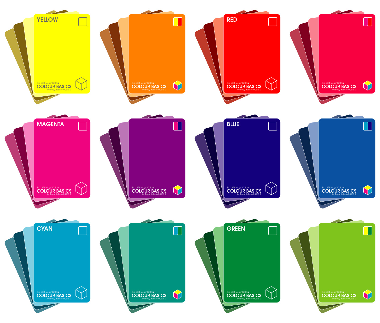 Colour Basics     |  48 cards in 12 sets of four-of-a-kind: Hue + Tint + Shade + Tone