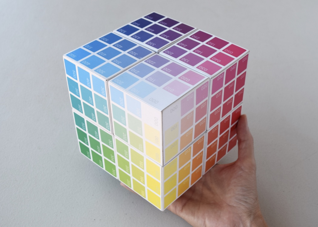 all 8 Corner Colour Cubes connected and held together with magnets