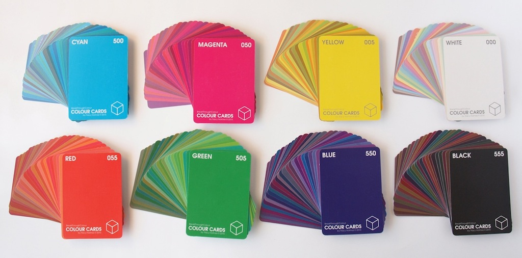 Eight sets of 27 cards each, one set for each of BTC's 8 Corner Colours: Cyan, Magenta, Yellow, White, Red, Green, Blue, and Black
