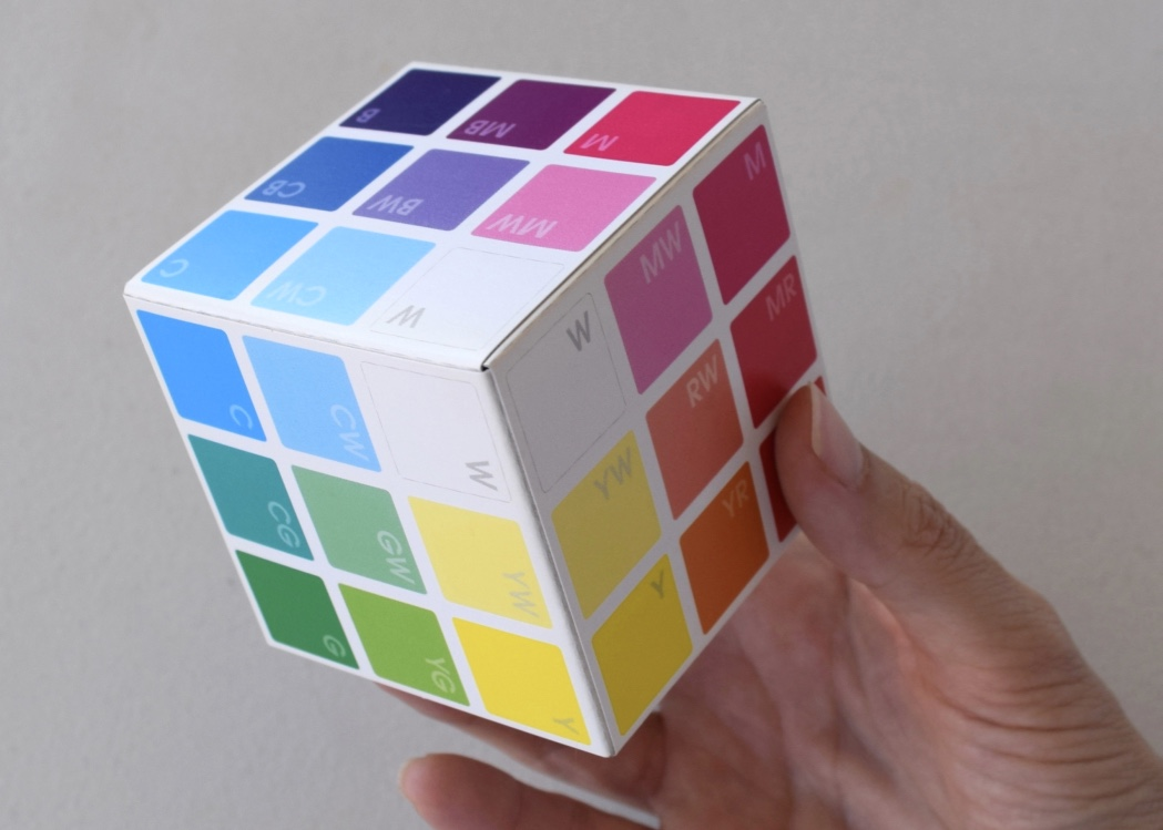 finished  Colour Basics  Colour Cube, showing the White Corner front and centre, surrounded by 6 Tints and then 12 Hues (the Shades and Black are around the back)