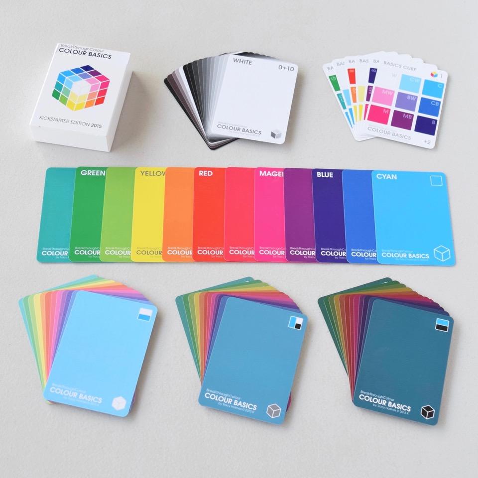 The  Colour Basics  tuck box includes 16 Achromatics (White, Black, Hue Greys and True Greys), 6 DIY  Colour Basics  Cube Cards, a full spectrum of 12 Base Hues, plus their 12 Tints (Hues + White), 12 Tones (Hues + Grey). and 12 Shades (Hues + Black)
