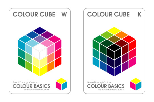 both sides of the  Colour Cube Key Card : White connecting with Tints, Black connecting with Shades, and pure Hues connecting around the other edges
