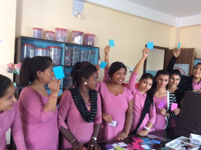 Holding their favourite colours high, these Nepali BTCers had Cyans and Magentas as top picks in the Samunnat classroom