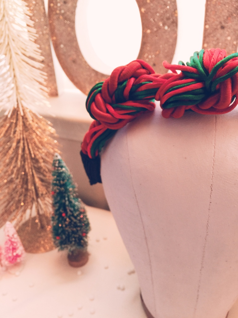 Candy Cane Knotted Holiday Headband