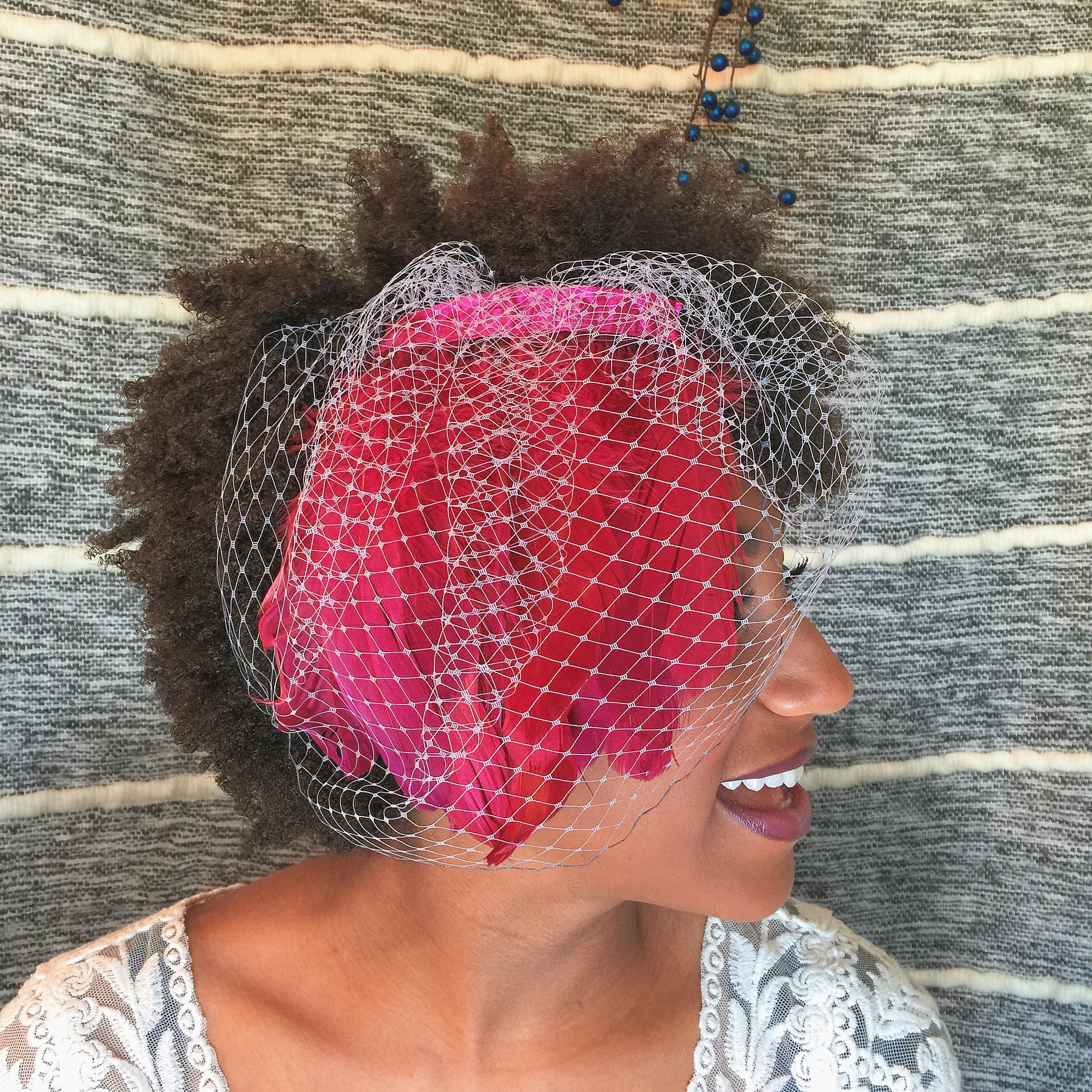Russian Netting Feather Birdcage Veil