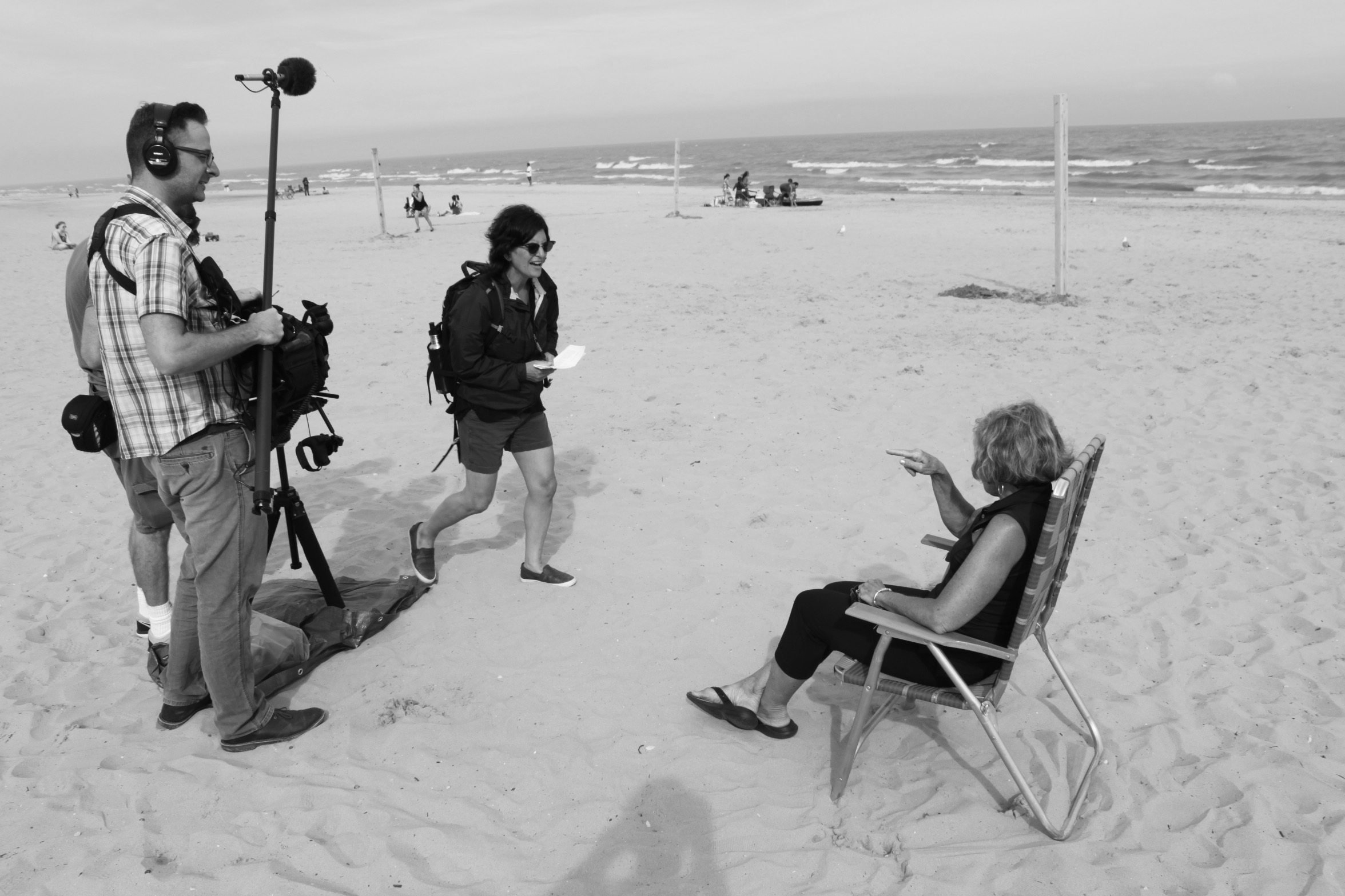 Director Deb Tolchinsky filming the documentary True Memories and Other Falsehoods with Penny Beerntsen at Neshotah beach in Two Rivers, Wisconsin