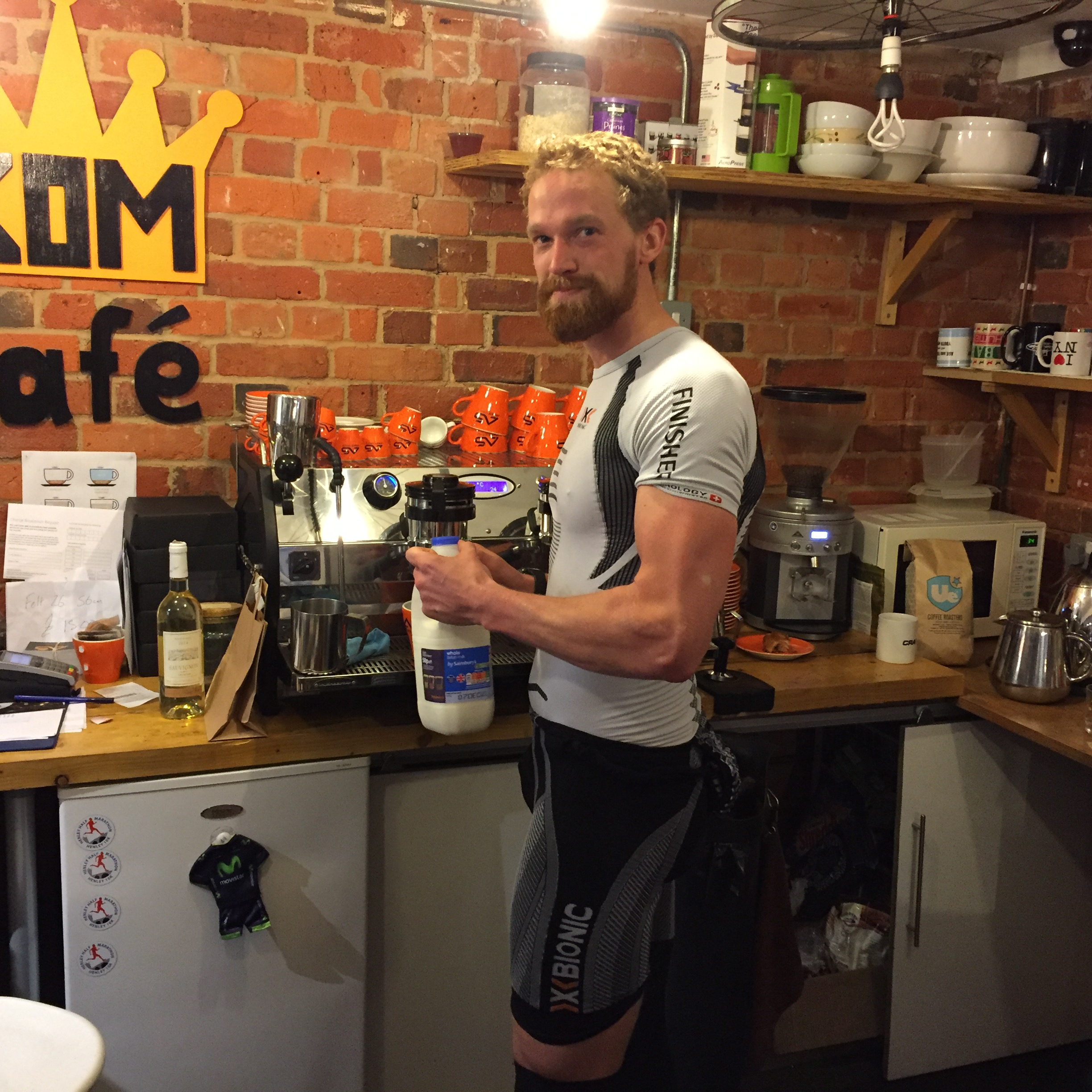 (Barista) Laurence making the post ride coffee....