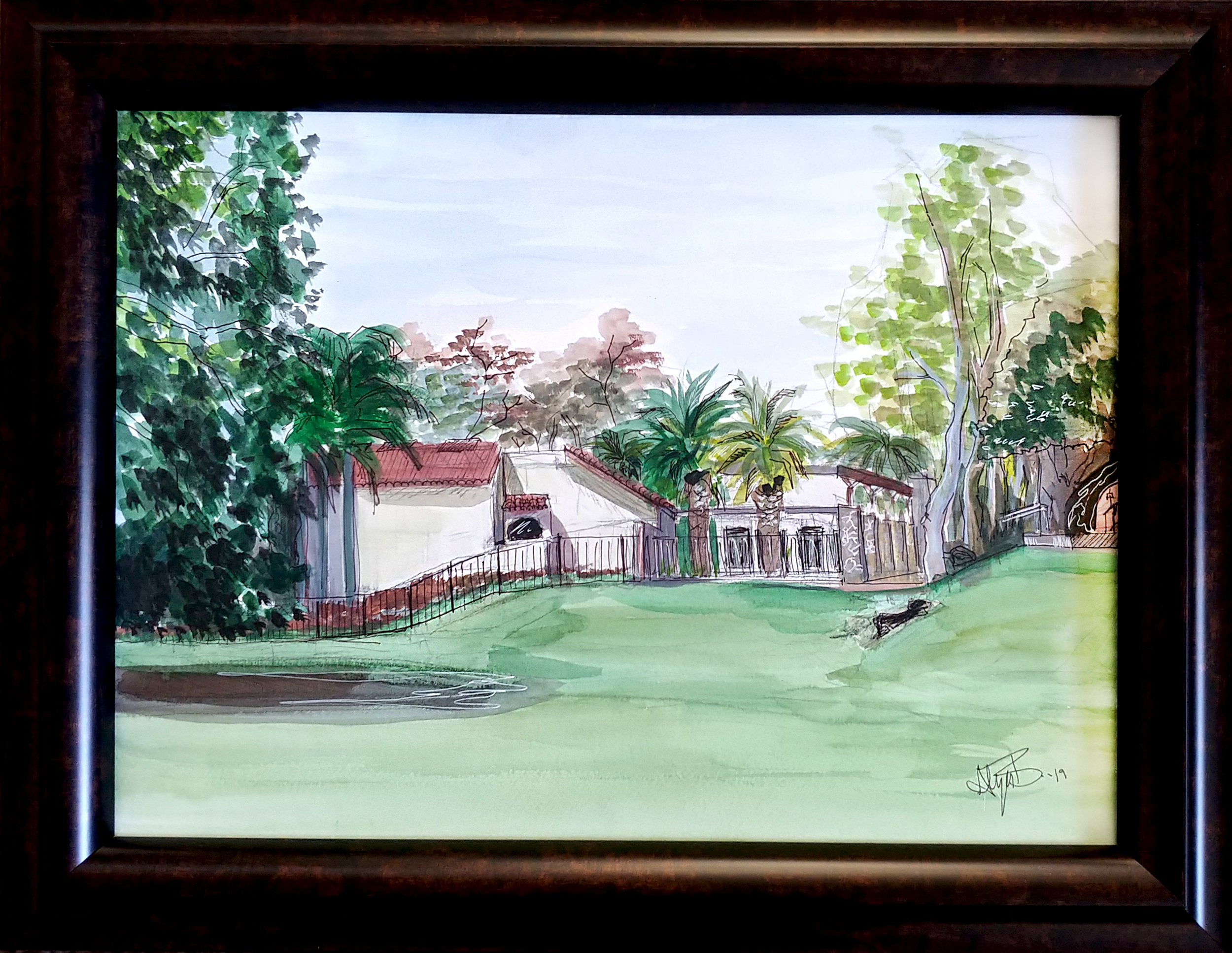 Mission Park (Plaza) Watercolor & Ink 15in x 19.5in (framed)
