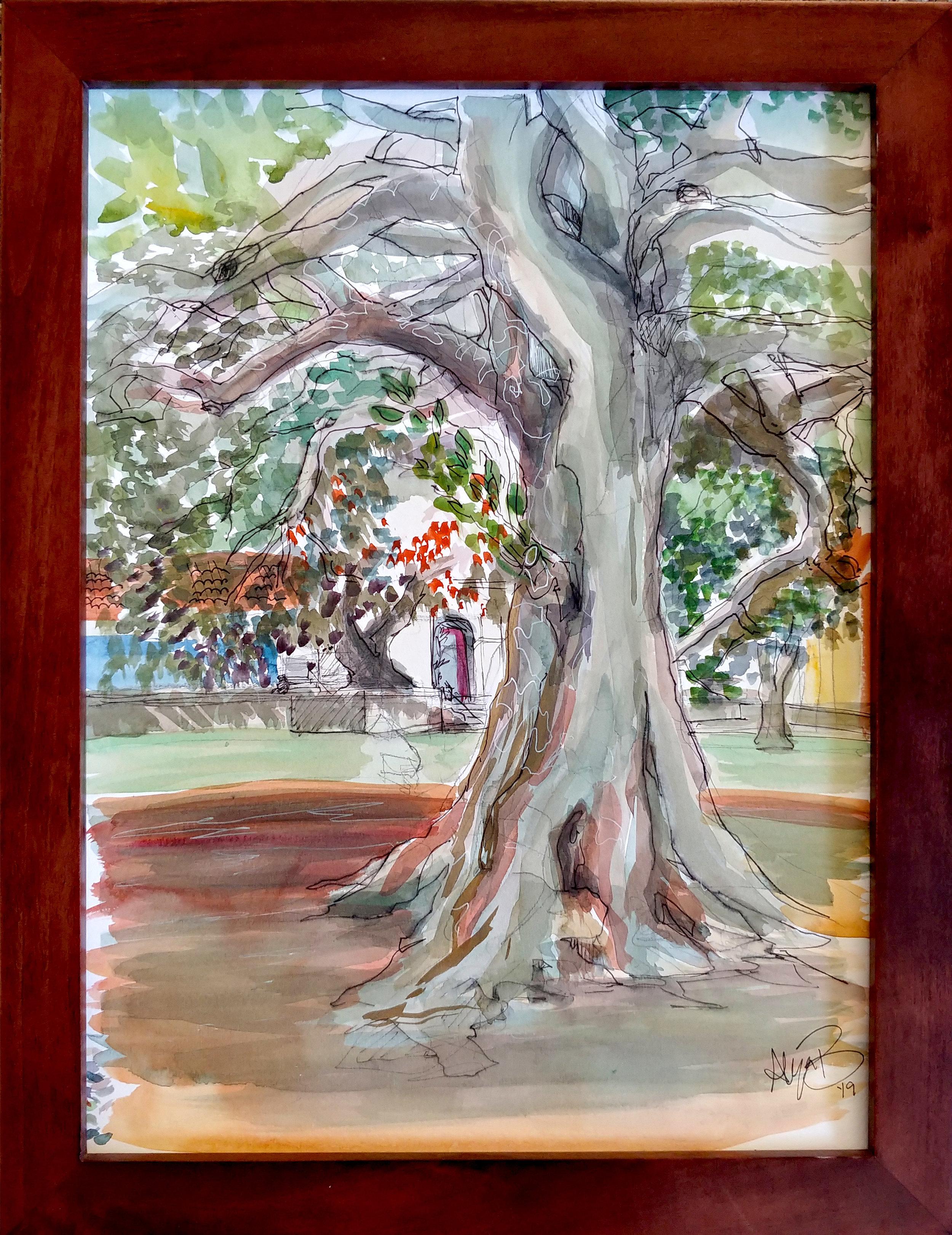 Fig Tree Watercolor & Ink 18in x 14in