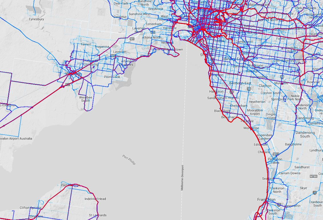 Melbourne cycling routes - Sept 2014 - as mapped by Strava users