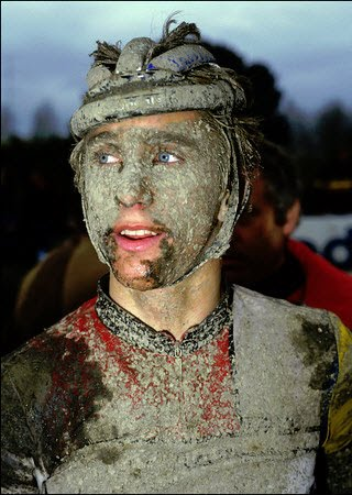 """Greg LeMond in 1985, having what's known as a """"Roubaix facial"""""""
