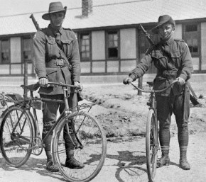 Henencourt, France 1917;Private Jack Dair Bambury (left) &Private Herbert (Terry) Davies of the 1st Anzac Cyclists Battalion standing, with their bicycles, in front of their barracks.