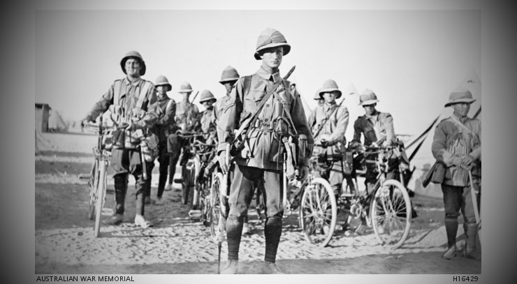 Serapeum Egypt c 1915; the Signal Section of the 13th Battalion, with bikes and signal equipment, ready to for a ceremonial parade