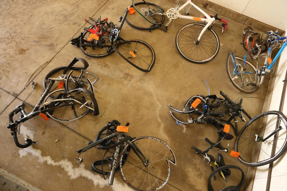 Crushed bikes in the evidence locker.