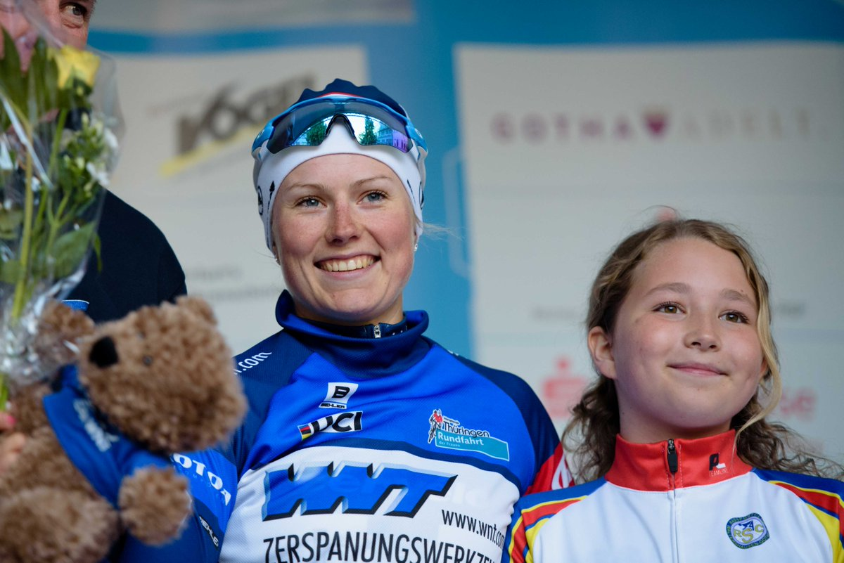 Cervelo Bigla's Lotta Lepisto - leading the sprint competition after Stage 1 - and the right sort of podium girl