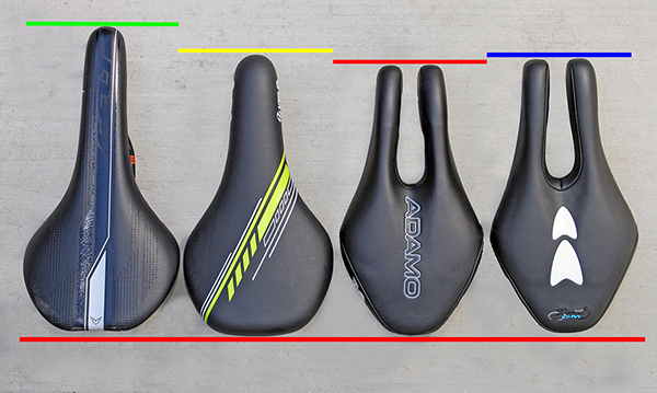 The two forward protrusions provide support for rider weight,allow circulation to soft tissues in the saddle area, resulting in greater comfort, less pressure and no numbness.    A secondary benefit is better performance since the rider can rotate their pelvis (can I ?) further forward into a more aerodynamic posture and maintain that posture for a longer time without having to sit upright to relieve saddle pressure. Clearly important stuff on a trip to the shops.